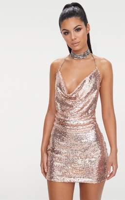 PrettyLittleThing Rose Gold Sequin Chain Choker Mini Dress