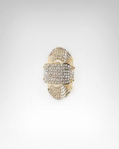 Bebe Large Crystal & Hinge Armor Ring