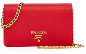 Prada Saffiano Flap Crossbody Wallet-on-Chain $1,220 thestylecure.com
