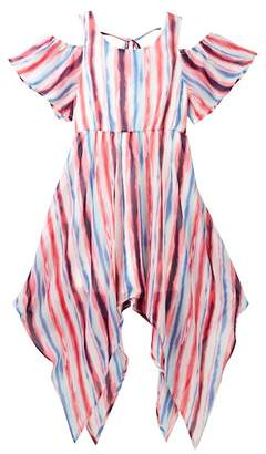My Michelle mymichelle Striped Cold Shoulder Maxi Dress (Big Girls)