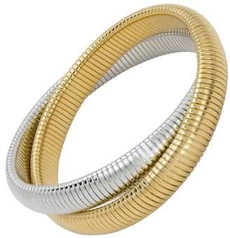 Janis Savitt High Polished Gold and Rhodium Double Cobra Bracelet