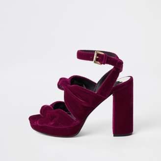River Island Womens Pink velvet knot platform sandals