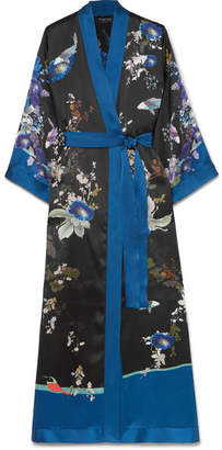 MENG - Printed Silk-satin Robe - Black