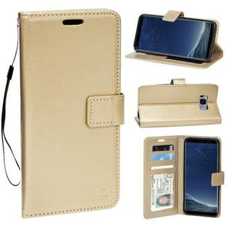 HLC Real Plain Leather Wallet Case for Galaxy S8 - Gold