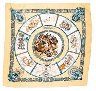 Hermes Chevaux De Trait Silk Scarf