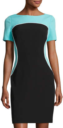 Tahari ASL Colorblocked Short-Sleeve Dress, Black/Blue