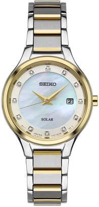 Seiko Women's Solar Dress Diamond Accent Two-Tone Stainless Steel Bracelet Watch 29mm SUT318 $395 thestylecure.com