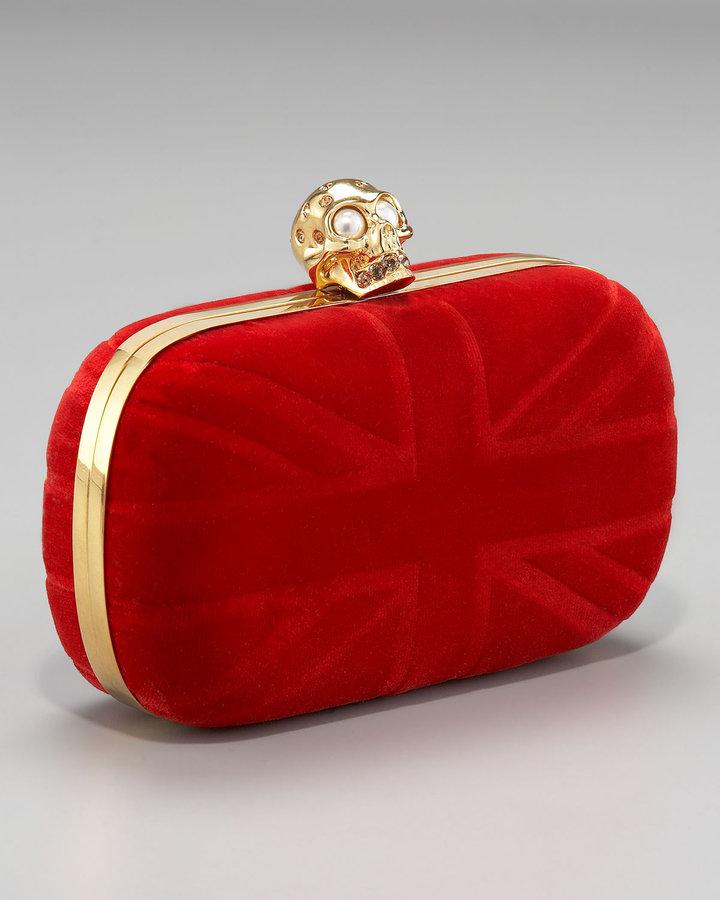 Alexander McQueen Britania Velvet Skull Box Clutch