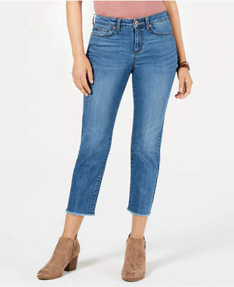Style&Co. Style & Co High-Rise Cropped Frayed-Cuff Jeans