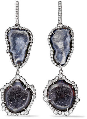 Kimberly McDonald - 18-karat Blackened White Gold, Geode And Diamond Earrings