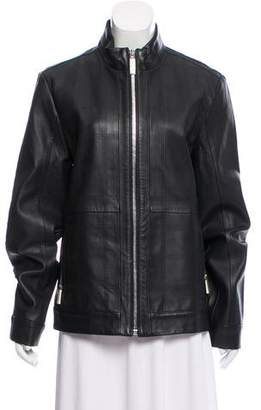 Calvin Klein Zip-Up Leather Jacket w/ Tags