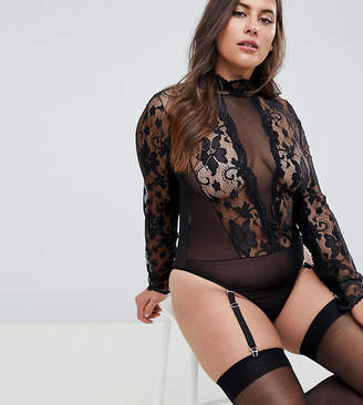 Asos DESIGN Curve high neck lace & mesh long sleeve thong bodysuit
