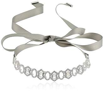 Carolee Crystal Abbey Adjustable Choker With Grosgrain Ribbon Necklace