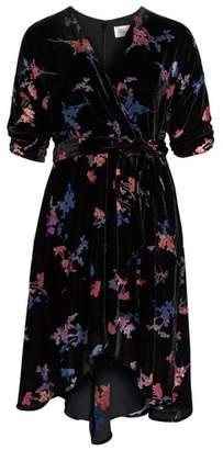 Eliza J Velvet Tie Waist Dress