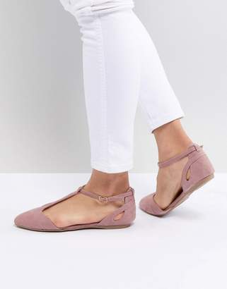 New Look T-Bar Pointed Flat Shoe