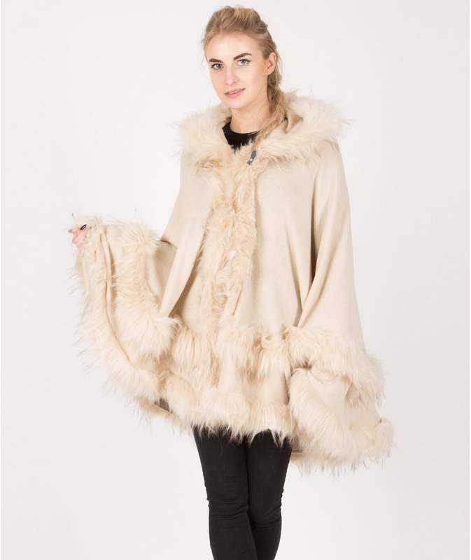 Urban Mist Knitted Two Layer Hooded Faux Fur Poncho