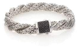 John Hardy Classic Chain Black Sapphire& Sterling Silver Medium Twisted Bracelet