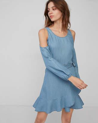 Express Petite Cold Shoulder Ruffle Wrap Dress