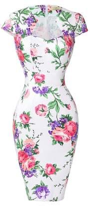 Belle Floral Vintage Dress for Wedding with Cap Sleeve L CL7597-6