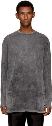 The Viridi-anne Grey Long Sleeve Double Pocket T-Shirt