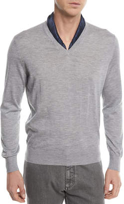Ermenegildo Zegna Cashmere-Cotton V-Neck Sweater