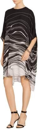 St. John Brush Stroke Print Draped Dress
