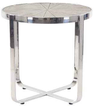 DecMode Decmode Contemporary Pine Wood and Stainless Steel Radial End Table, Brown