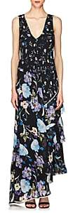 3.1 Phillip Lim WOMEN'S FLORAL SILK SLEEVELESS MAXI DRESS-BLACK SIZE 10