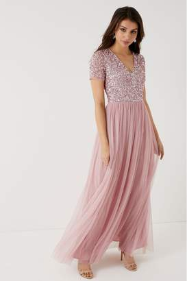 Maya Womens V neck Short Sleeve Sequin Maxi Dress - Pink