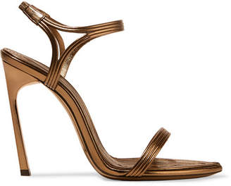 Saint Laurent Talitha Metallic Leather Sandals - Bronze