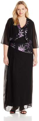 Le Bos Women's Plus-Size Long Asymmetric Glitter Jacket and Dress Set, Black/Purple