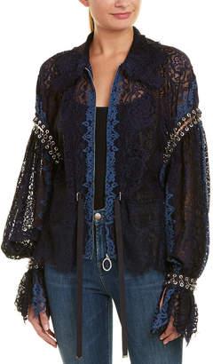 Jonathan Simkhai Grommet Lariat Lace Silk Jacket