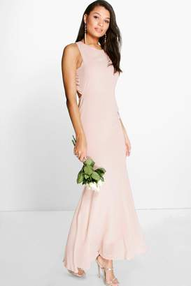 boohoo Carol Chiffon Open Back Fish Tail Maxi Dress