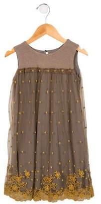 MonnaLisa Jakioo Girls' Embroidered Sleeveless Dress