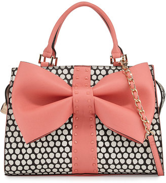 Betsey Johnson Curtsy Dotted Bow Satchel Bag, Coral $95 thestylecure.com