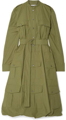 J.W.Anderson Belted Pinstriped Cotton-poplin Dress - Army green