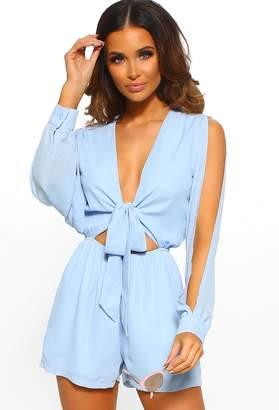 16920f7e4d2 Pink Boutique Got Your Attention Blue Tie Front Cut Out Long Sleeve Playsuit