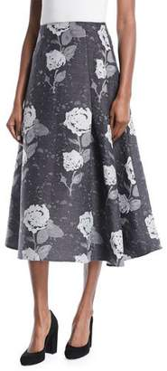Co Floral-Jacquard Wool A-Line Midi Skirt