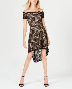 City Studios Juniors' High-Low Lace Off-The-Shoulder Dress