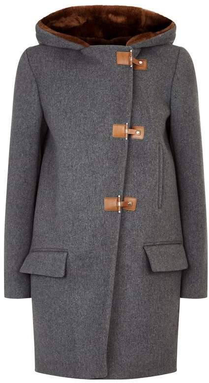 Faux Fur Hood Wool Coat