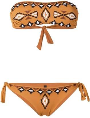 Fisico embroidered pattern bandeau bikini