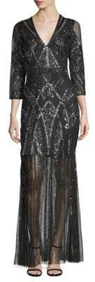 Aidan Mattox Beaded Sheer Gown