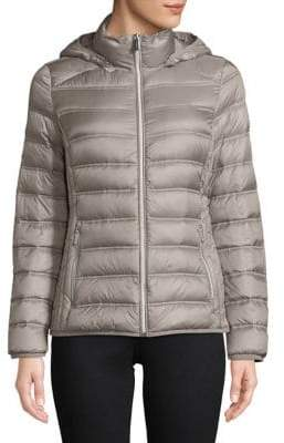 "MICHAEL Michael Kors THE COAT EDIT 25"" Short Packable Grey Jacket"