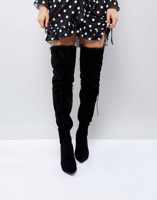 PrettyLittleThing Faux Fur Trim Heeled Over The Knee Boot