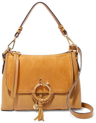 See by Chloe Joan Small Suede-paneled Textured-leather Shoulder Bag - Saffron