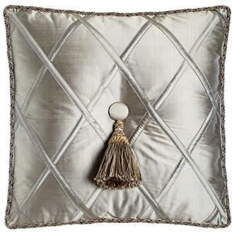 "Dian Austin Couture Home Silk Diamond Pillow with Tassel, 18""Sq."