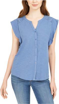 Style&Co. Style & Co Eyelet Sleeveless Shirt