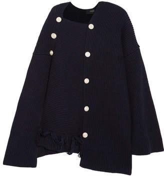 Joseph Asymmetric Frayed Ribbed Wool Sweater - Navy