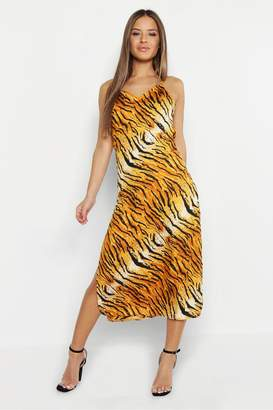 boohoo Petite Tiger Print Satin Cowl Neck Cami Slip Dress