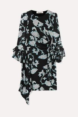Diane von Furstenberg Faridah Ruffled Floral-print Stretch-voile Mini Dress - Black